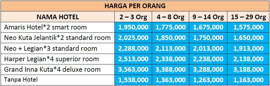 Paket Wisata Bali 4 Hari 3 Malam Opsi A