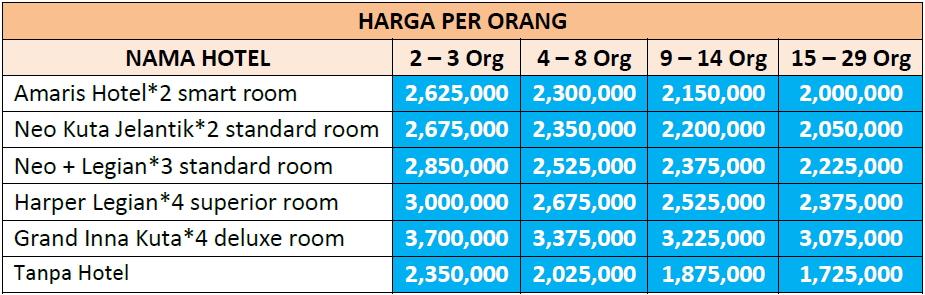 Paket Wisata Bali 4 Hari 3 Malam Opsi C